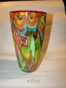 Milieu Du Siècle Moderne, Verre D'art Murano Vase Multicolore & Mille Flore Avec Étiquette D'origine