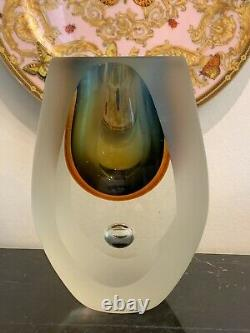 Milieu Du Siècle Murano Flavio Poli Sommerso Seguso Tear Drop Art Glass Vase