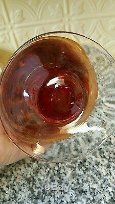 Milieu Du Siècle Vase Belle Amberina Art En Verre Soufflé À La Bouche Pontil Mark