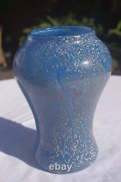 Monart Art Déco Vase Surface Decorated Blue Paisley Shawl Shape Fa, Taille VI