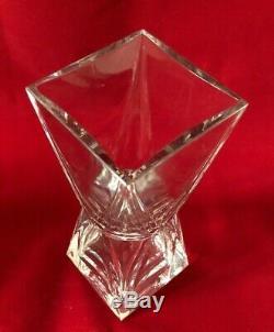 Monnaie Baccarat Française Grand Cristal Lourd Épais Art De Verre Fleur Grand Vase 7 7/8