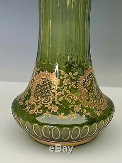 Moser Antique Art Grand Vase En Verre Vert Avec Rococo Rich Or Décoration