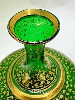 Moser Antique Art Tchèque Bohême Coeur En Verre Vase D'or Gilt Sur Verre Vert