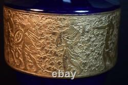 Moser Art Déco Cobalt En Verre Bleu, Or Frieze Vase