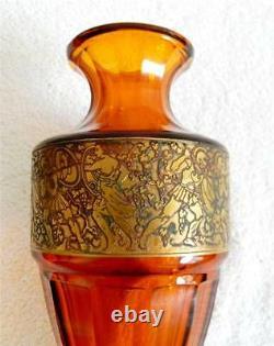 Moser Art Vase En Verre Ambre Couleur- Doré Or Figural Scène Bande