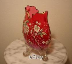 Moser Ruby Opalescent Doré Pieds Art Vase Oreiller En Verre Coralene Décoré