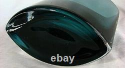 Moser Vase Boat Shaped Art Modern Smokey Blue Vers 1950's