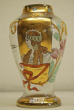 Mouvement Esthetique Antique Autrichien Art Deco Nouveau Vase En Verre Emaille De Boheme