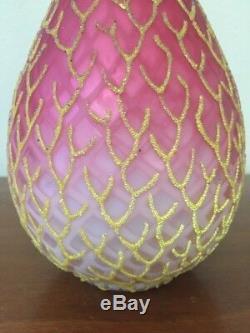 Mt Washington Coralene Art Bouteille En Verre Vase Peachblow Rose Jaune Excellent 12