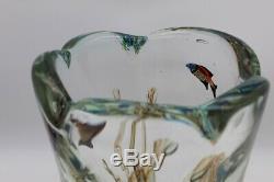Murano Aquarium / Poisson Énorme Art Glass Vase Barbini Cenedese MID Century Signé