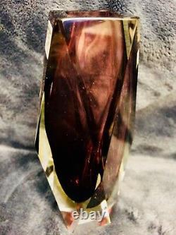 Murano Art Glass Faceted Prism Vase Sommerso Mandruzzato 6.5 Signé