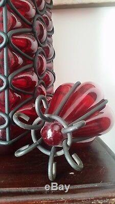Murano Caged Art Bouteille En Verre Decanter Vase Ruby Red Floor 28 Énorme