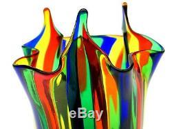 Murano Handblown Filigrana Stripes Verre Art Italien Vase Fulvio Bianconi