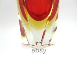 Murano Mandruzzato Somerso Multi Faces Rouge Ambre Mid-century Art Vase En Verre