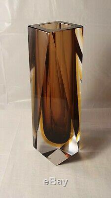 Murano Signé Facettes Mandruzzato Sommerso Cased Art Glass Vase MID Century