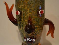 Murano Style Art Lunatique Face Verre Vase