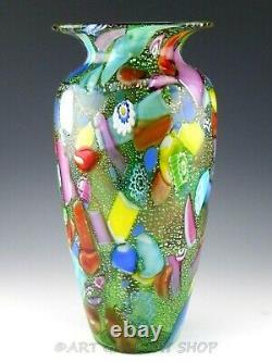 Murano Vetreria Pitau Italie Art Verre 13-3 / 4 Grand Vase Millefiori Excellent