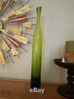 Myers Vert Blenko Bottle Vase. Art Grand Verre Carafe Very Nice