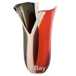 New 13 En Verre Soufflé À La Bouche Art Vase Rouge Blanc Noir Cannelée Y Cutwork Décoratif