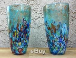 Nouveau 12 Vase Art Verre Soufflé Bleu Italien Millefiori Multicolore Décoratif