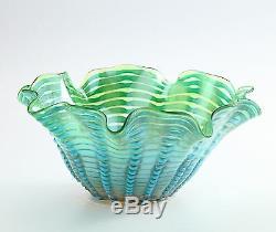 Nouveau 14 Vase En Verre Soufflé Art Bol Bleu Vert Mouchoir À Volants Décoratif