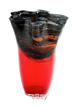 Nouveau 14 Vase En Verre Soufflé Art Rouge Mouchoir À Volants Décoratif
