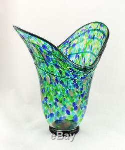 Nouveau 15 Vase Art Verre Soufflé Bleu Vert Cannelé Italien Décoratif