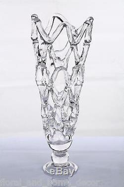 Nouveau 19 Grande Art Verre Soufflé À La Main Clear Web Vase Sculpture Décorative