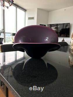 Nr! Formia Murano Grand Handblown Art Glass Shell Bowl Vase Noir Rose Italie