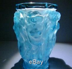 Nus Bacchantes Teal Vase Zbs Halama Art Nouveau Deco Bohème Verre Tchèque # 469