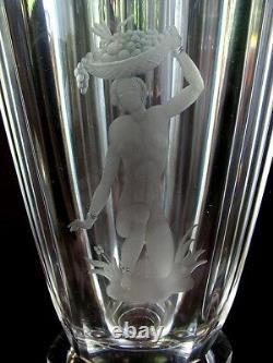 Orrefeurs Art Deco Vase Engraved Nude Nils Landberg Crystal C. 1930's