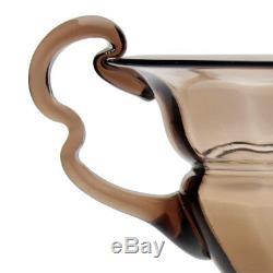 Orrefors Simon Porte Art Nouveau Fumée Topaz Vase Avec Rigaree 1918