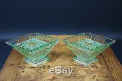 Paire Art Déco Bagley 1333 Green Glass Vases & Frogs 1920 1930 Superbe