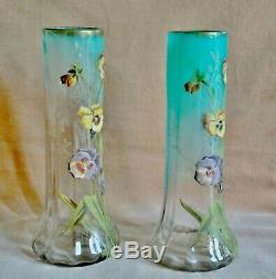 Paire Art Nouveau Vases De Pansement En Verre Émaillé Vase En Verre Antique Legras (mont Joye)