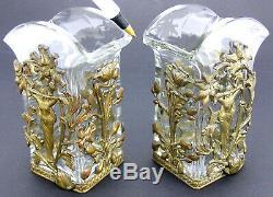 Paire Art Nouveau Verre Cristal Vases Bronze Mont Jugendstil Ormolu Autriche Évt
