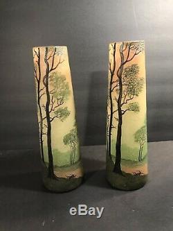 Paire De Antique Signée Legras Français Art Glass Vase / Cameo & Émail / 1925 Circa