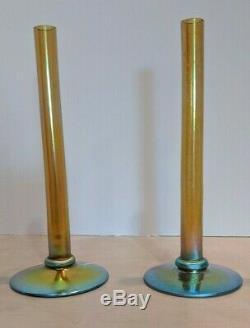 Paire De Antique Steuben Or Aurene Art Deco Us Verre Rose Flower Bud Vase Bâton