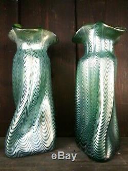 Paire De Loetz Art Du Verre Vases Creta Phaenomen 1898' 1900