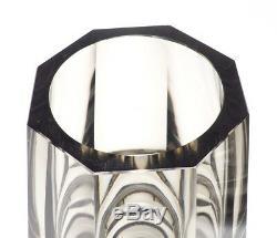 Paire De Moser Art Du Verre Smokey Gris Octogonales Vases