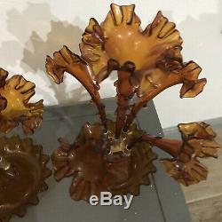 Paire / Ensemble De L'ère Victorienne Antique Art Glass Vase Ambre Épergne 4 Cornes, Cb15