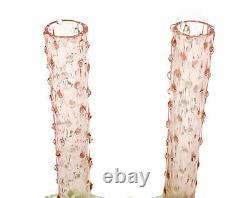 Paire Vases En Verre D'art Rose Et Vert De Murano Vénitien