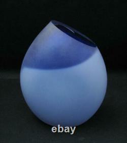Philip Stokes Australian Art Glass Blue Vase Signed Freeformed Early Example