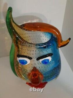 Picasso Italien Murano Art Glass Vase, 12 Colorful Hand Blown Home Decor