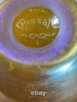 Quezal Antique Signé Vase En Verre D'art Irisé Avec Couche D'argent Sterling 9