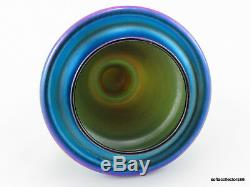 Quezal Art Blue Glass Luster Grand Lidded Urne Vase Ou 1920 Ca