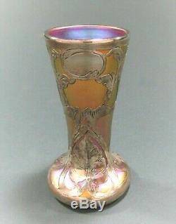 Quezal Art Glass Vase Withsterling Overlay Signé Ca 1902-1924 Tiffany Steuben Era