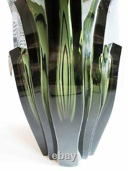 R. Hlousek Massive Bohemian Art Déco 1930's Hand-cut Smoky Glass Vase 5.8 Lb