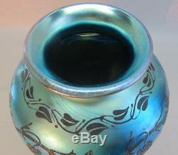 Rare 10.5 Steuben Blue Aurene Vase En Verre D'art De Blackberry Gravé, Env. 1915