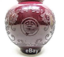 Rare 13 Vase En Verre Art Déco Steelen Plum Jade V. Époque 1925 Antique Carder