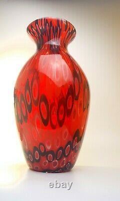 Rare 4kg Toso & Barovier Murano 1970s Signé Rouge Millefiori Vase Pièce De Verre D'art